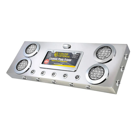 "Stainless steel rear center panel w/all CLEAR LENS ""Fleet"" 4"" round red and mini-button LED lights"
