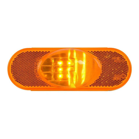 Amber oval 9 diode LED turn signal light w/hump