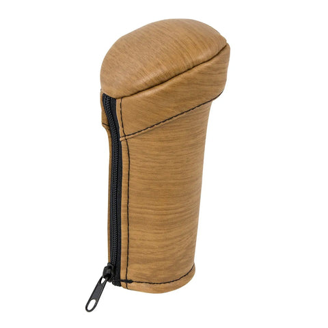Matte light wood-look neoprene gear shift knob cover with zipper