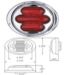 "Maxxima red 2"" mini-oval 7 diode LED marker light"