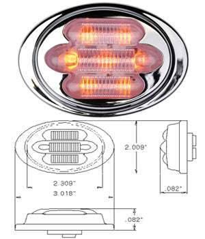"Maxxima red 2"" mini-oval 7 diode LED marker light - CLEAR lens"