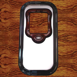 Rockwood Peterbilt chrome shift tower platform cover w/rosewood collar