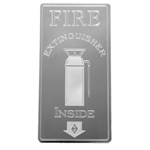 "Rockwood stainless steel ""Fire Extinguisher Inside"" statement plate"
