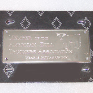 "Rockwood stainless steel ""Member of the American Bull Truckers Association"" statement plate"