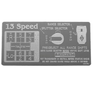 Rockwood Eaton Fuller stainless steel shift pattern plate - 13 Speed Overdrive RTO, RTLO, RTOX