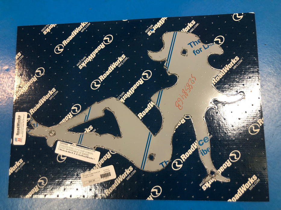 "Stainless steel mudflap cowgirl cutout w/bolt-through holes - 11"" x 16"""
