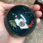 "Green Glitter w/Mexico flag embedded logo 2.25"" diameter round gear shift knob"