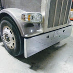 "Peterbilt 389 premium 8 gauge chrome 18"" boxed end bumper w/standard tow & mounting holes"