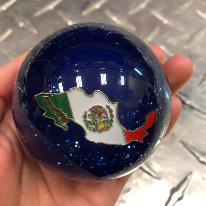 "Blue Glitter w/Mexico flag embedded logo 2.25"" diameter round gear shift knob"