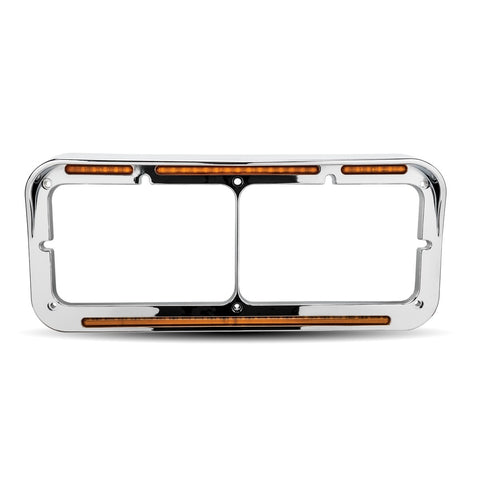 Flatline chrome plastic dual rectangular headlight bezel w/amber LED turn signals