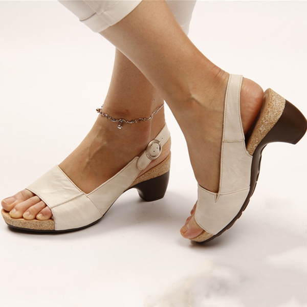 2020 Hot Selling TV Products Comfortable Elegant Low Chunky Heel Sandals