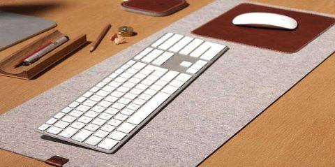 Handmade Wool Felt Leather Mouse Pad and Table Mat with Leather Mouse Pad