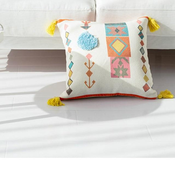 Decorative Tasseled Pillow Cover Cool Ethnic Pattern Cushion Covers HOME-GARDEN LIVING ROOM