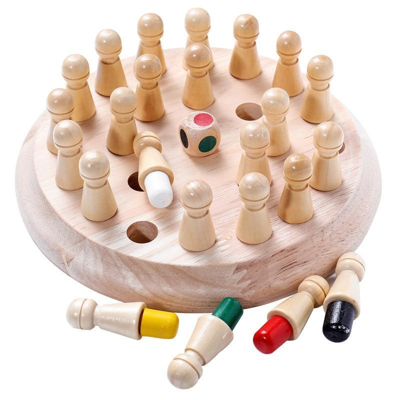 Lomsarsh Wooden Memory Match Stick Game Educational Wooden Memory Chess Manual Brain Parent-Child Development of Intellectual Leisure Toys Kid Intelligence IQ Brain Teaser Game