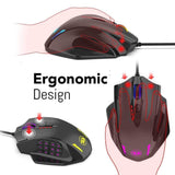 RGB LED Laser Wired  12400 DPI High Precision Gaming Mouse
