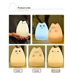 CoolStuffHouse USB Rechargeable LED Colorful Animal Cat Night Light  for Children Gift