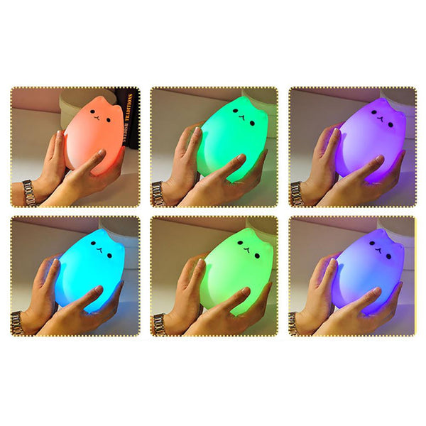 USB Rechargeable LED Colorful Animal Cat Night Light HOME-GARDEN LAMPS