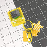 FUN-GAMES GAMES Mini Game Console Portable Keychain Game Toy Best Gift For Nerds Yellow