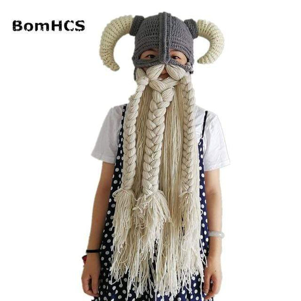 Vikings Beanies Mask Handmade Beard Horn Indispensable for Party FUN-GAMES MASKS