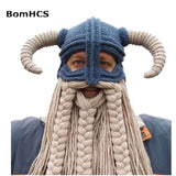 FUN-GAMES MASKS Vikings Beanies Mask Handmade Beard Horn Indispensable for Party