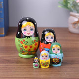 FUN-GAMES TOYS Eco-Friendly Handmade Painted Russian Matryoshka Doll Home Decoration 5Pcs