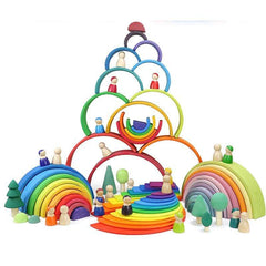 FUN-GAMES TOYS Wooden Rainbow Blocks Toy For Babies Awesome Stuff