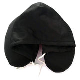 HOBBY-LIFESTYLE TRAVEL Hooded U-Shaped Pillow Office Travel Head Rest Neck Support Eye Mask Black Hooded pillow