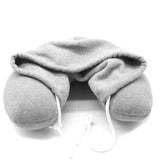 HOBBY-LIFESTYLE TRAVEL Hooded U-Shaped Pillow Office Travel Head Rest Neck Support Eye Mask grey Hooded pillow