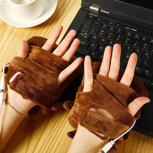 Cute Plush Double Hand Warmer Gloves USB Gift For Geeks HOBBY-LIFESTYLE USB GADGETS