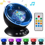 HOME-GARDEN BEDROOM Ocean Wave Projector LED Night Light with USB Remote Contro Speaker
