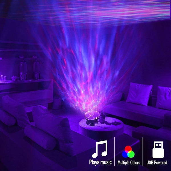 Ocean Wave Projector LED Night Light with USB Remote Contro Speaker HOME-GARDEN BEDROOM