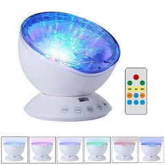 HOME-GARDEN BEDROOM Ocean Wave Projector LED Night Light with USB Remote Contro Speaker White