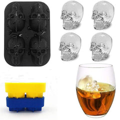 HOME-GARDEN KITCHEN 1PC 4-Grids Creative Silicone SkulI Ice Mold Cool Things to Kitchen