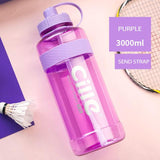 HOME-GARDEN TRAVEL Large Capacity Portable Sports Water Bottles 3000ml 4