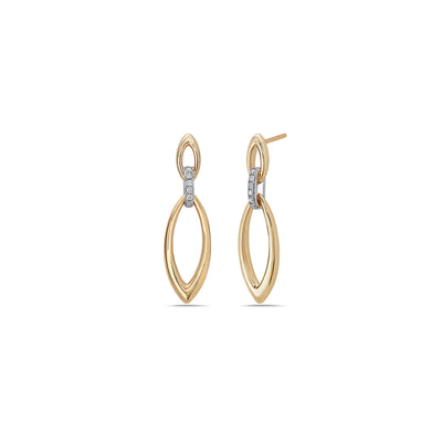 Gold Marquis Drop Hoop Earring