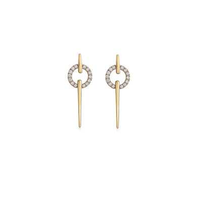 Gold & Diamond Circle Spear Earring