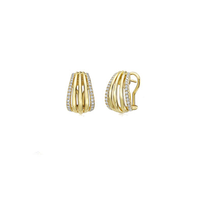 Gold and Diamond Birdcage Earring