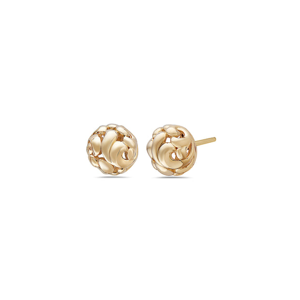 Gold Ivy Bead Stud Earring