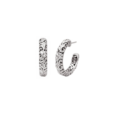 Silver Ivy Rounded Half Hoop Earring