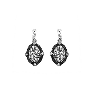 SILVER IVY DANGLE BLACK AND WHITE EARRINGS