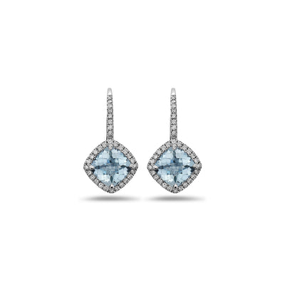 Pastel Diamond Angled Cushion Earring