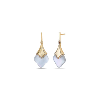 Diamond Clover Pearl Drop Earring