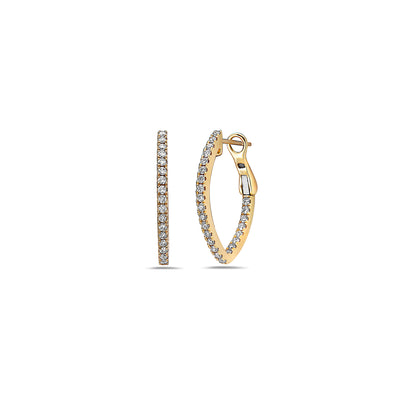 Diamond V Hoop Earring