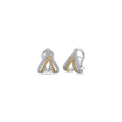 Diamond Double V Stud Earring