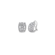 Diamond Triple Row Stud Earring