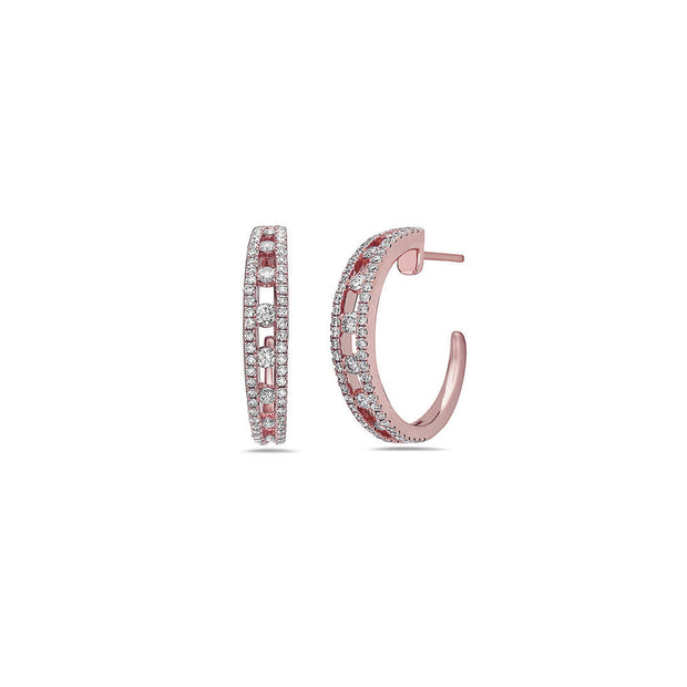 Diamond Air Hoop Earring