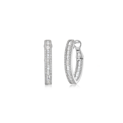 Baguette Diamond Hoop Earring