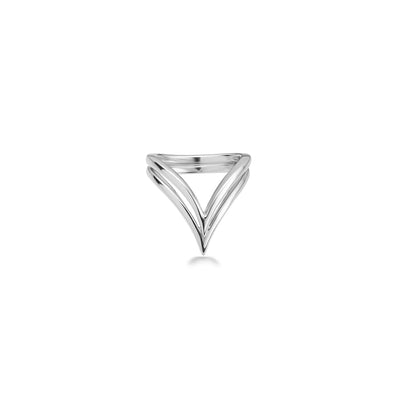 Silver Double V Ring