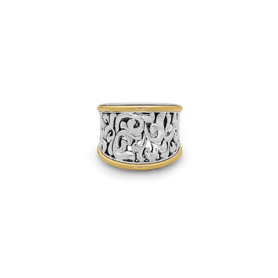 Silver Ivy Concave Saddle Ring