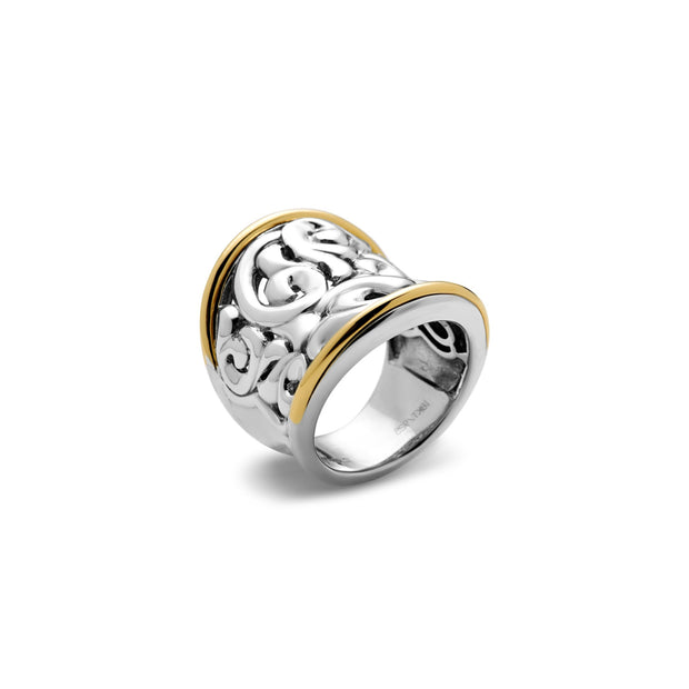 SILVER IVY TWO TONE LARGE SADDLE RING